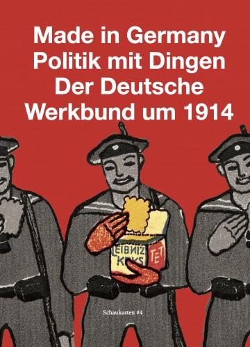 """Cover der Publikation """"Made in Germany. Politik mit Dingen"""", gemalte Soldaten mit Leibniz-Keksen vor rotem Hintergrund"""