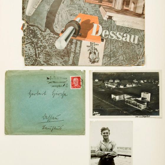Zwei Fotos, eine Broschüre und ein Briefumschlag betreffend Herbert Hirche aus der Dokumente-Sammlung
